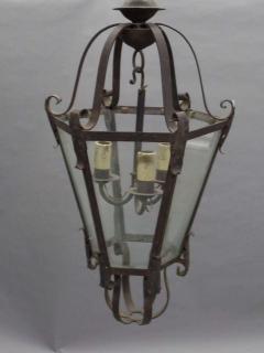 Large French Mid Century Wrought Iron Lantern Pendant Chandelier 1940 - 1787517