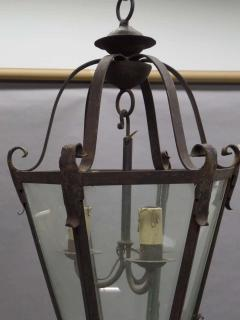Large French Mid Century Wrought Iron Lantern Pendant Chandelier 1940 - 1787518