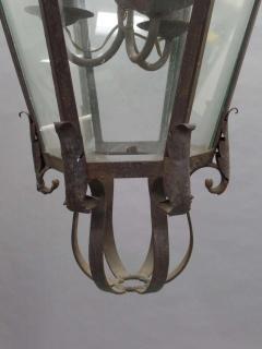 Large French Mid Century Wrought Iron Lantern Pendant Chandelier 1940 - 1787519