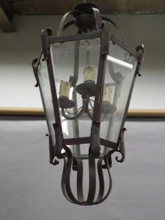 Large French Mid Century Wrought Iron Lantern Pendant Chandelier 1940 - 1787520