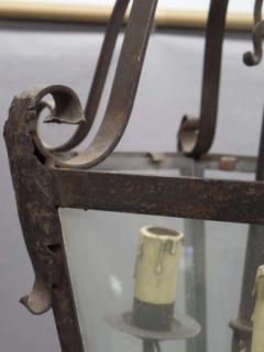 Large French Mid Century Wrought Iron Lantern Pendant Chandelier 1940 - 1787521