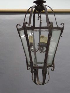 Large French Mid Century Wrought Iron Lantern Pendant Chandelier 1940 - 1787523