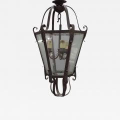 Large French Mid Century Wrought Iron Lantern Pendant Chandelier 1940 - 1791348