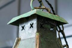 Large French Verdigris Copper Lantern - 1975736