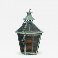 Large French Verdigris Copper Lantern - 1981871