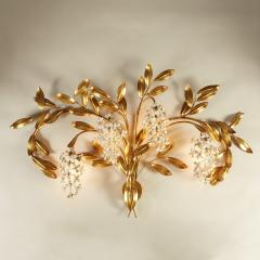 Large French gold leaf Wisteria flower wall light - 1964464