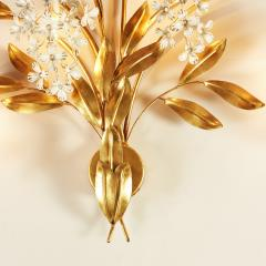 Large French gold leaf Wisteria flower wall light - 1964494