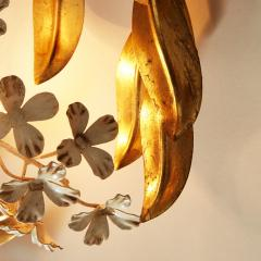 Large French gold leaf Wisteria flower wall light - 1964495