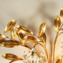 Large French gold leaf Wisteria flower wall light - 1964498