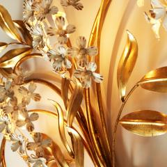 Large French gold leaf Wisteria flower wall light - 1964501