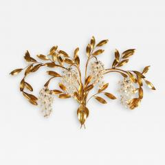 Large French gold leaf Wisteria flower wall light - 1966867