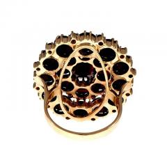 Large Garnet Gold Cluster Cocktail Ring - 326411