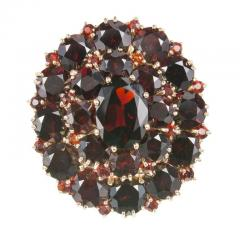 Large Garnet Gold Cluster Cocktail Ring - 326412