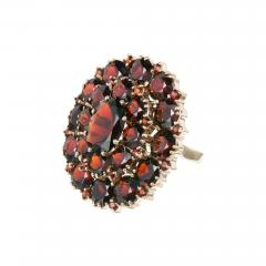 Large Garnet Gold Cluster Cocktail Ring - 327131