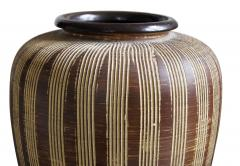Large German Modernist Vase with Carved Pinstripes - 1577041