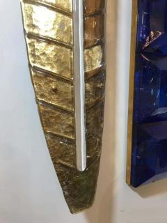 Large Gilded Leaf Murano Glass Sconces - 1288240