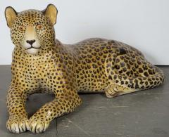 Large Glazed Ceramic Leopard 20th Century - 987865