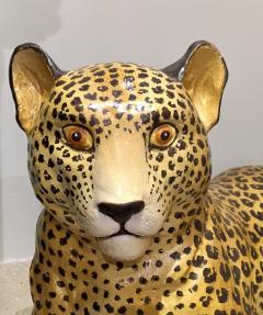 Large Glazed Ceramic Leopard 20th Century - 988797