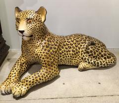 Large Glazed Ceramic Leopard 20th Century - 988801