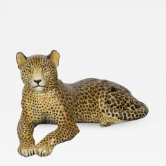 Large Glazed Ceramic Leopard 20th Century - 989481