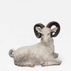 Large Hand Painted Ceramic Goat 1950s signed  - 832725