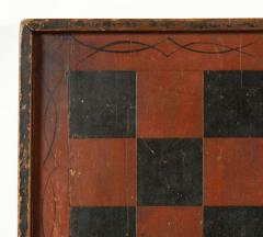 Large Impressive Paint Decorated Game Board in Red Black circa 1845 - 636723
