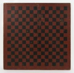 Large Impressive Paint Decorated Game Board in Red Black circa 1845 - 636724