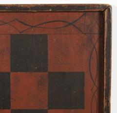 Large Impressive Paint Decorated Game Board in Red Black circa 1845 - 636725