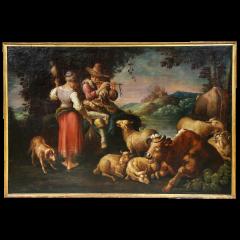 Large Italian Pastural Landscape Oil Painting - 1521925