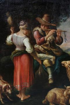 Large Italian Pastural Landscape Oil Painting - 1521944