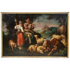 Large Italian Pastural Landscape Oil Painting - 1521965