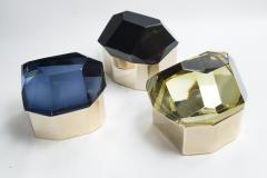 Large Italian Polished Diamond Faceted Box contemporary - 1184440