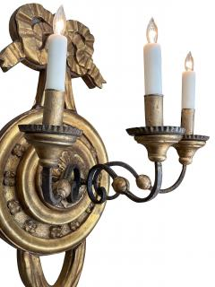 Large Italian baroque style 3 arm giltwood and iron wall sconce now electrified - 2130969
