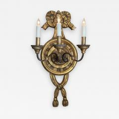 Large Italian baroque style 3 arm giltwood and iron wall sconce now electrified - 2131776