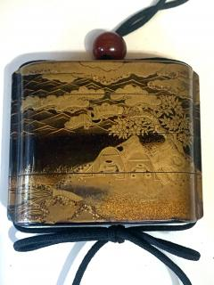 Large Japanese Lacquer Inro with Maki e Landscape Meiji Period - 1598004