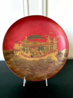 Large Japanese Lacquer Plate with Elaborate Maki e Design by Kajikawa - 1826411