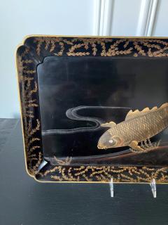 Large Japanese Lacquer Tray with Maki e Carp Design Meiji Period - 1980847