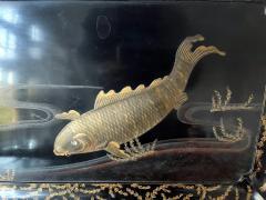 Large Japanese Lacquer Tray with Maki e Carp Design Meiji Period - 1980851