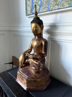 Large Lacquer Wood Antique Burmese Buddha Statue - 1980879
