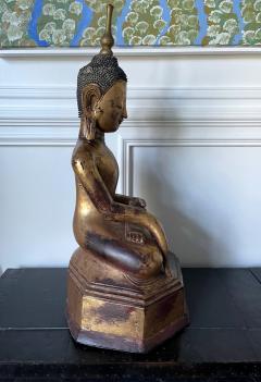 Large Lacquer Wood Antique Burmese Buddha Statue - 1980880