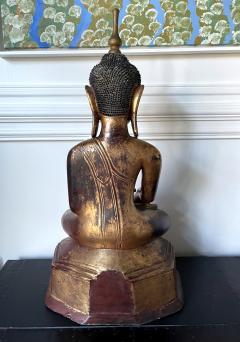 Large Lacquer Wood Antique Burmese Buddha Statue - 1980881