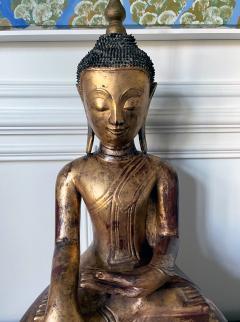 Large Lacquer Wood Antique Burmese Buddha Statue - 1980882