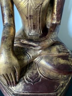 Large Lacquer Wood Antique Burmese Buddha Statue - 1980884