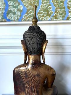 Large Lacquer Wood Antique Burmese Buddha Statue - 1980885
