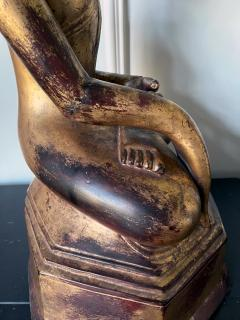 Large Lacquer Wood Antique Burmese Buddha Statue - 1980887