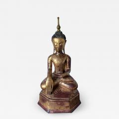 Large Lacquer Wood Antique Burmese Buddha Statue - 1985922