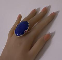 Large Lapis Lazuli Sapphire Diamond Gold Ring - 1718478
