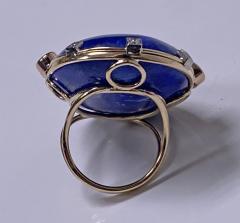 Large Lapis Lazuli Sapphire Diamond Gold Ring - 1718482