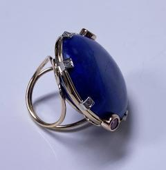 Large Lapis Lazuli Sapphire Diamond Gold Ring - 1718483