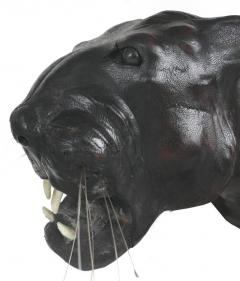 Large Leather Clad Sculpture of a Black Panther with Glass Eyes - 1219180